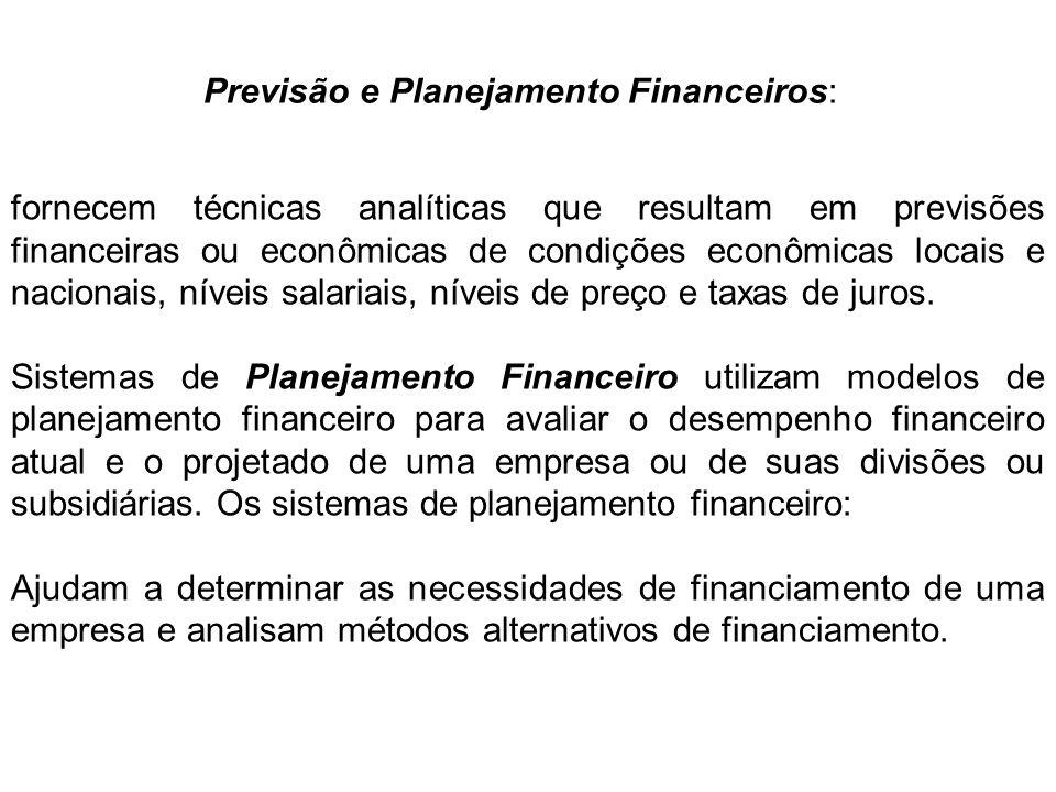 Previsão e Planejamento Financeiros: