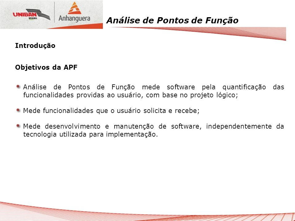 IntroduçãoObjetivos da APF.