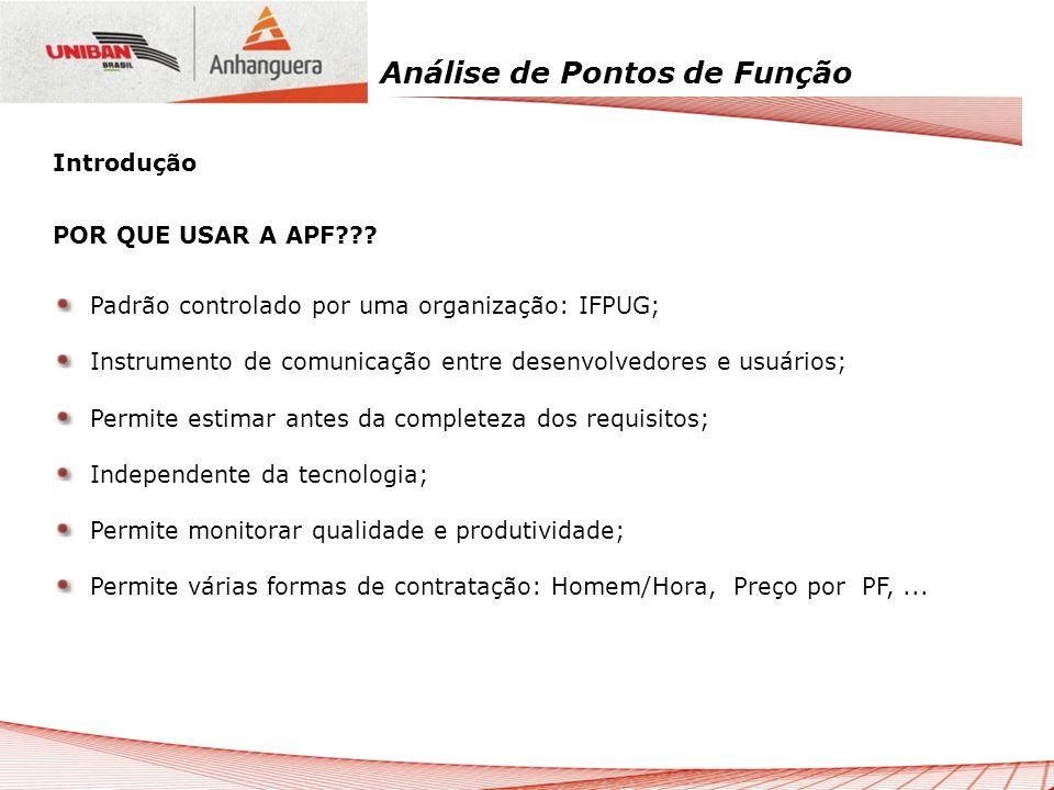 Introdução POR QUE USAR A APF Padrão controlado por uma organização: IFPUG; Instrumento de comunicação entre desenvolvedores e usuários;