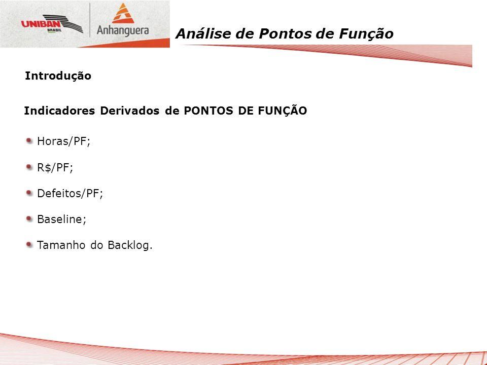 Introdução Indicadores Derivados de PONTOS DE FUNÇÃO.