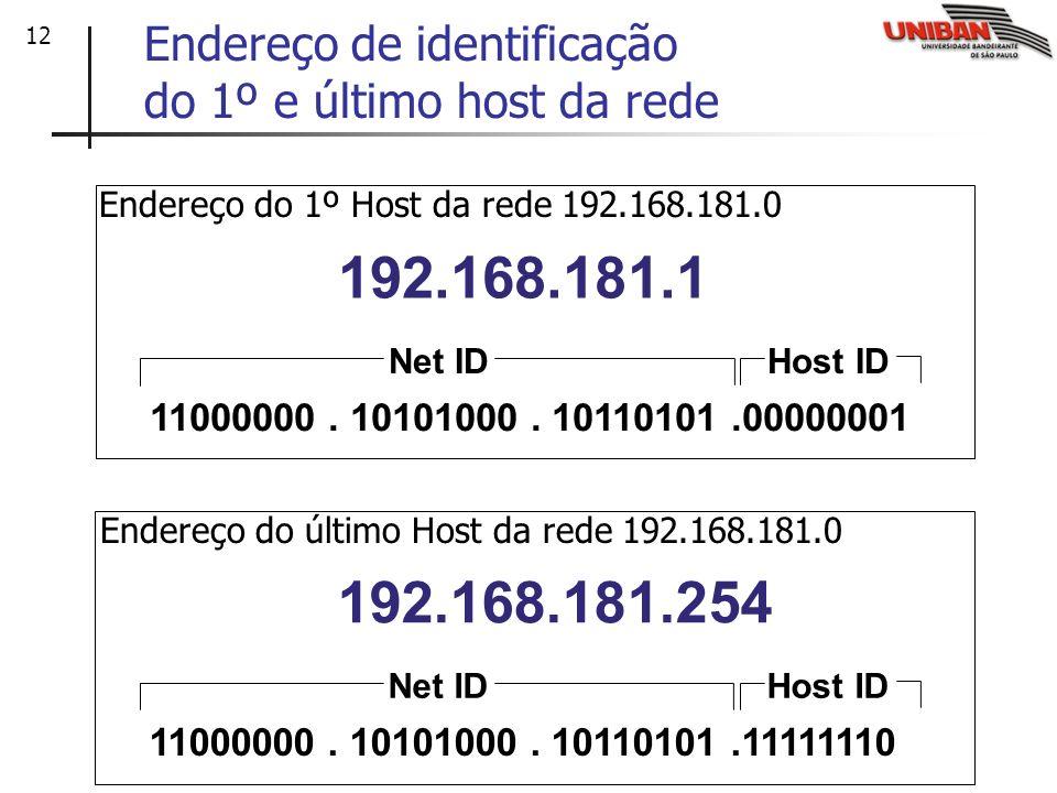 Endereço de identificação do 1º e último host da rede