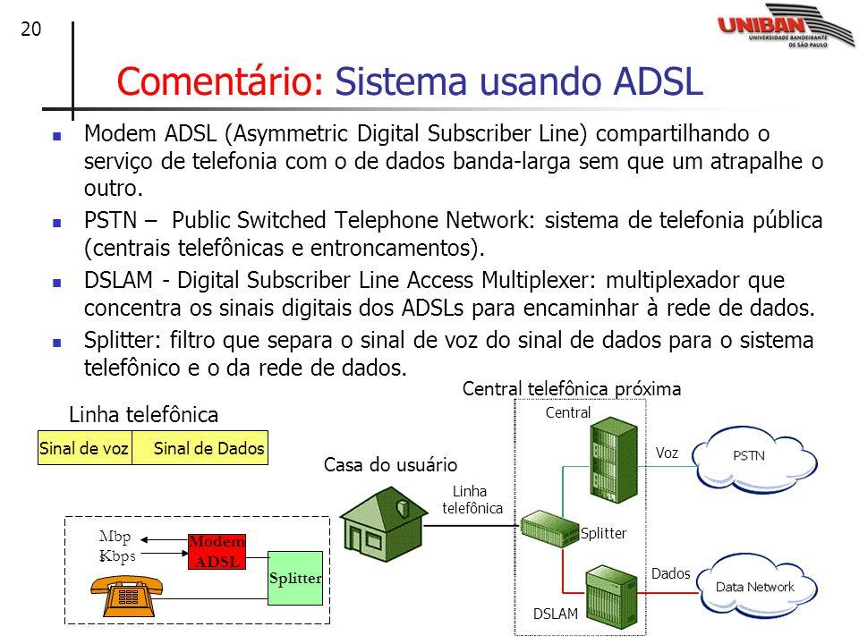 Comentário: Sistema usando ADSL