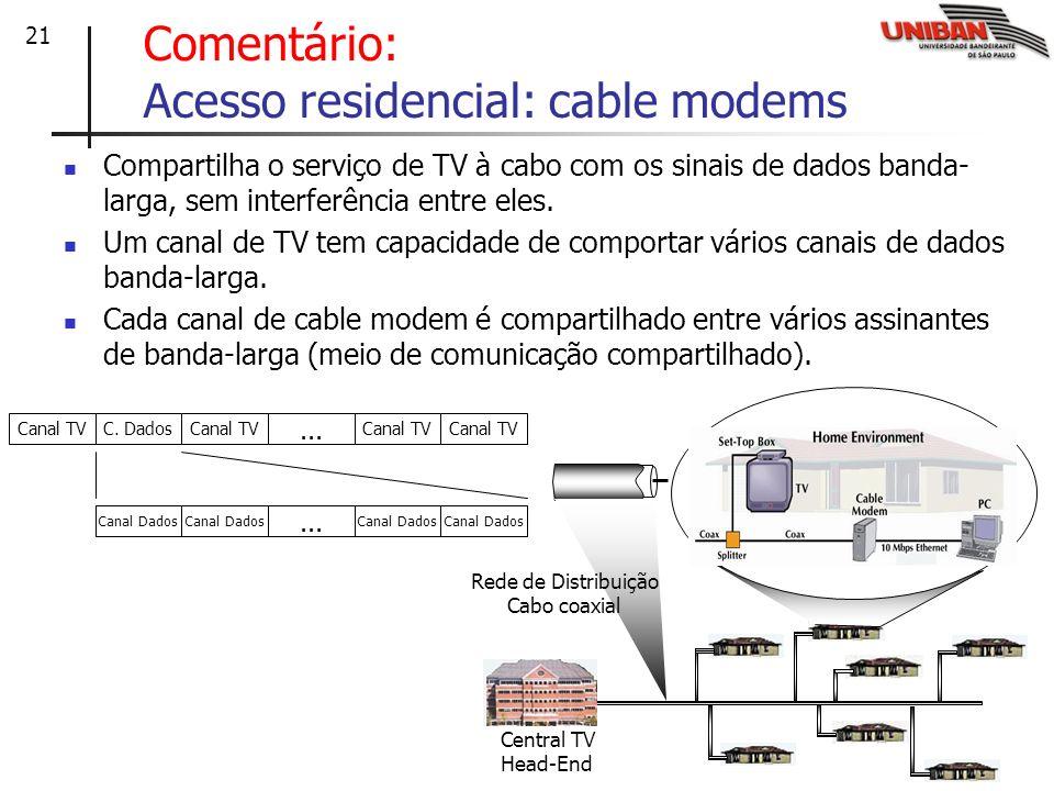 Comentário: Acesso residencial: cable modems