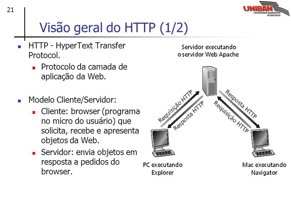 Visão geral do HTTP (1/2) HTTP - HyperText Transfer Protocol.