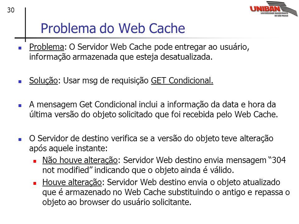 Problema do Web Cache Problema: O Servidor Web Cache pode entregar ao usuário, informação armazenada que esteja desatualizada.