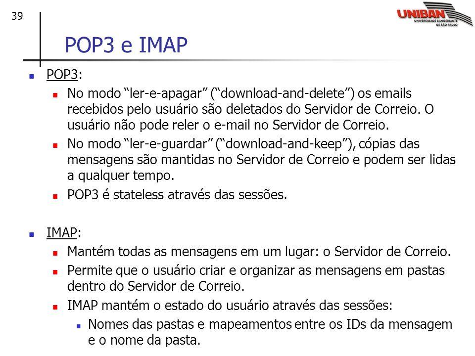 POP3 e IMAP POP3: