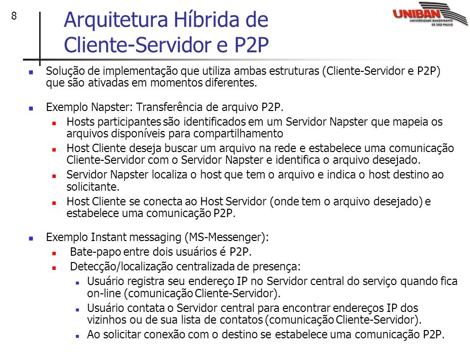 Arquitetura Híbrida de Cliente-Servidor e P2P