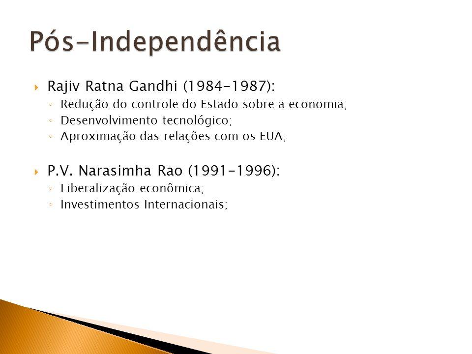 Pós-Independência Rajiv Ratna Gandhi (1984-1987):