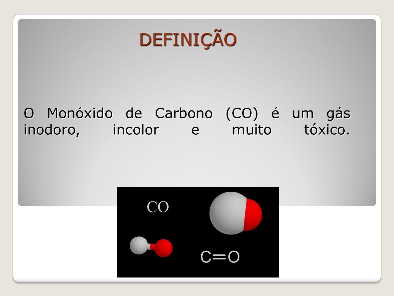 O Monóxido de Carbono (CO) é um gás inodoro, incolor e muito tóxico.