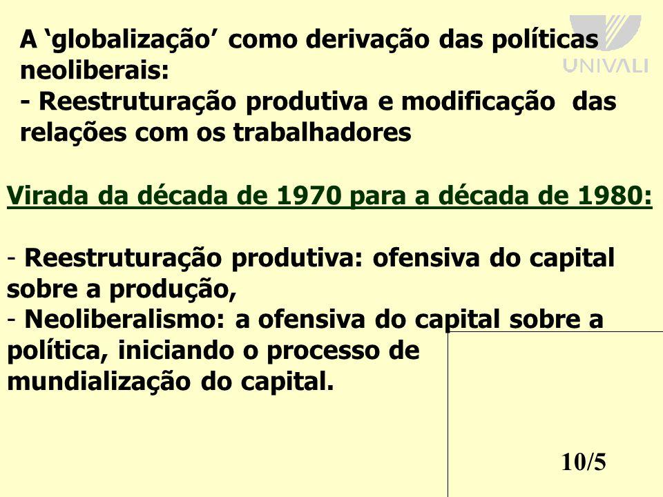 A 'globalização' como derivação das políticas neoliberais: