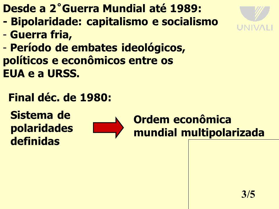 Desde a 2˚Guerra Mundial até 1989: