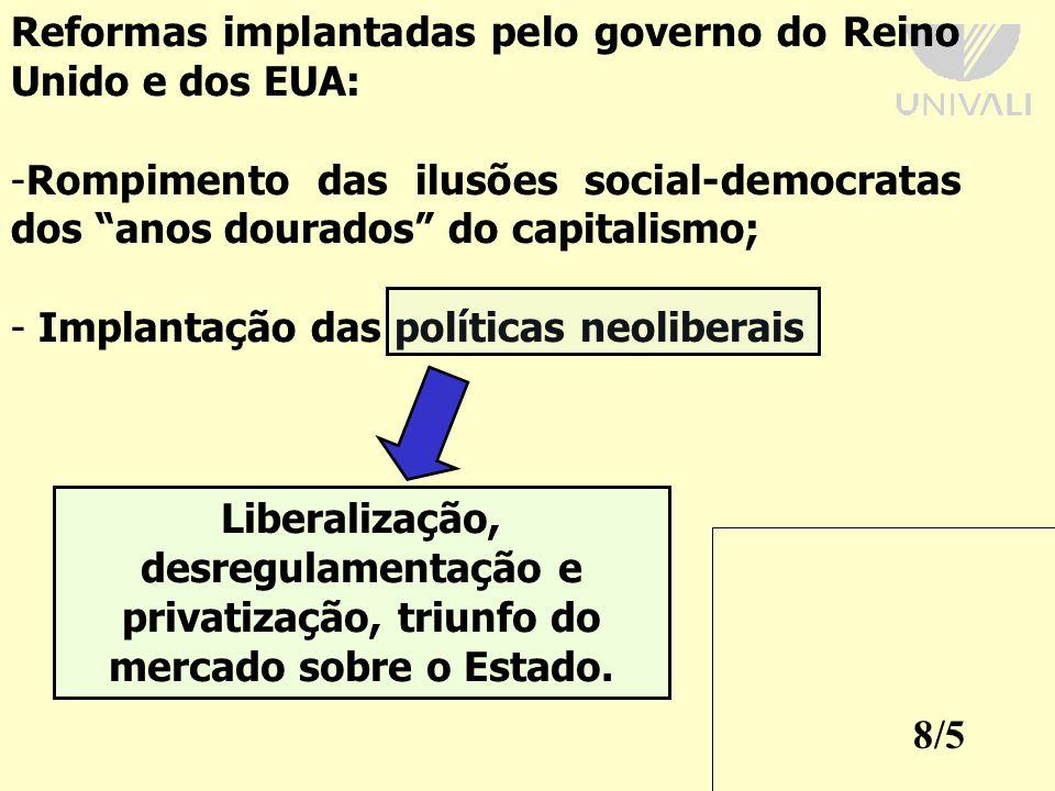 Reformas implantadas pelo governo do Reino Unido e dos EUA: