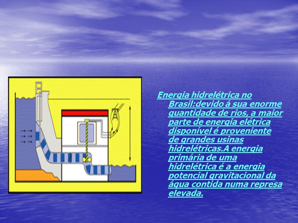 Energia hidrelétrica no Brasil:devido á sua enorme quantidade de rios, a maior parte de energia elétrica disponível é proveniente de grandes usinas hidrelétricas.A energia primária de uma hidrelétrica é a energia potencial gravitacional da água contida numa represa elevada.