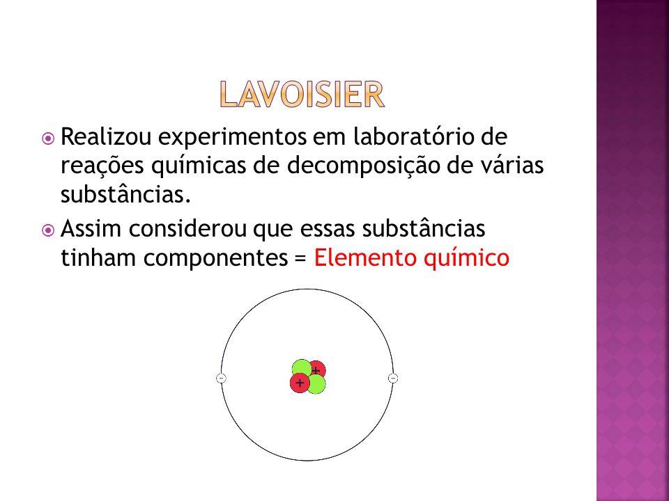 Lavoisier Realizou experimentos em laboratório de reações químicas de decomposição de várias substâncias.