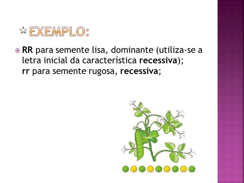 Exemplo: RR para semente lisa, dominante (utiliza-se a letra inicial da característica recessiva); rr para semente rugosa, recessiva;