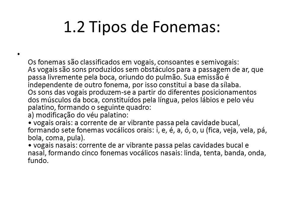 1.2 Tipos de Fonemas: