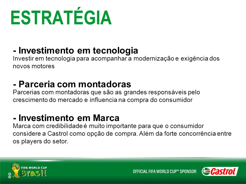 ESTRATÉGIA - Investimento em tecnologia - Parceria com montadoras