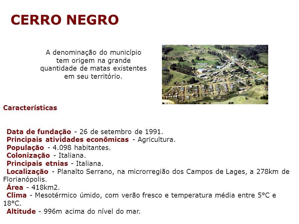 CERRO NEGRO A denominação do município tem origem na grande quantidade de matas existentes em seu território.