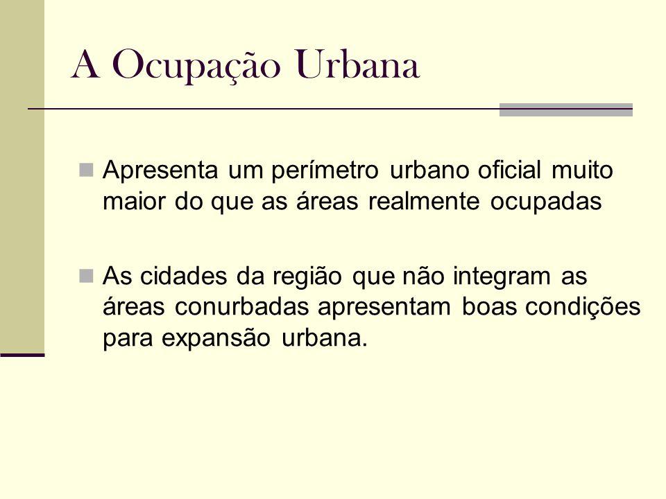 A Ocupação UrbanaApresenta um perímetro urbano oficial muito maior do que as áreas realmente ocupadas.