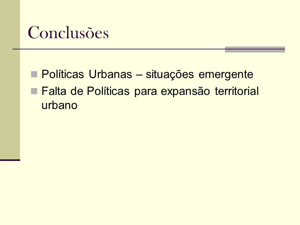 Conclusões Políticas Urbanas – situações emergente