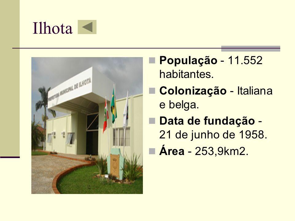 Ilhota População - 11.552 habitantes. Colonização - Italiana e belga.