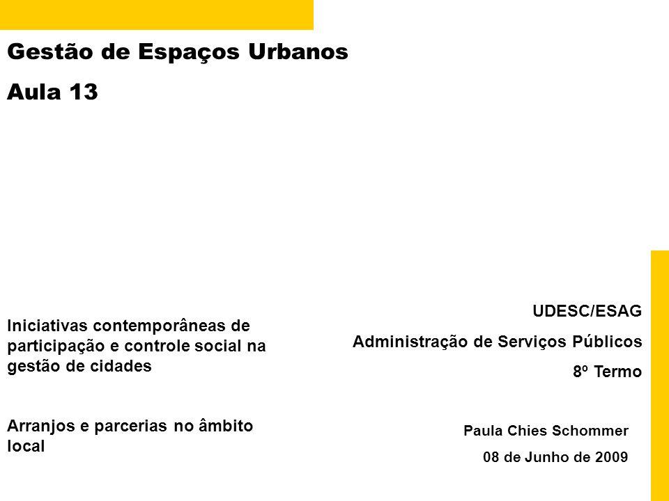 Gestão de Espaços Urbanos Aula 13