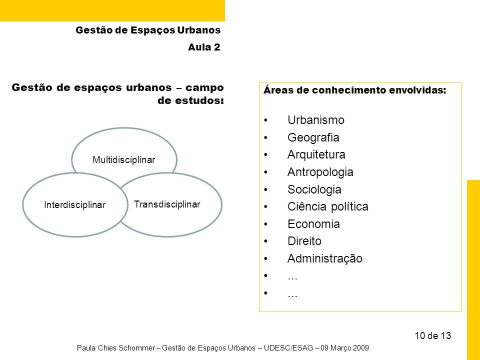 Urbanismo Geografia Arquitetura Antropologia Sociologia