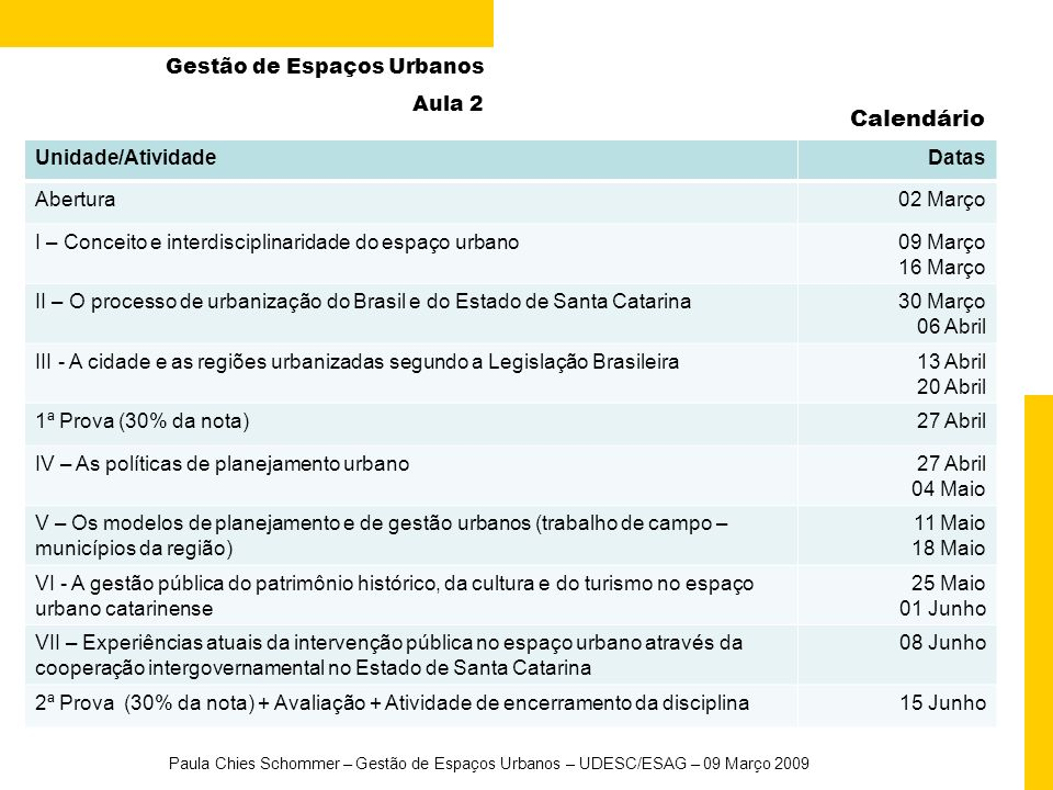 Calendário Gestão de Espaços Urbanos Aula 2 Unidade/Atividade Datas