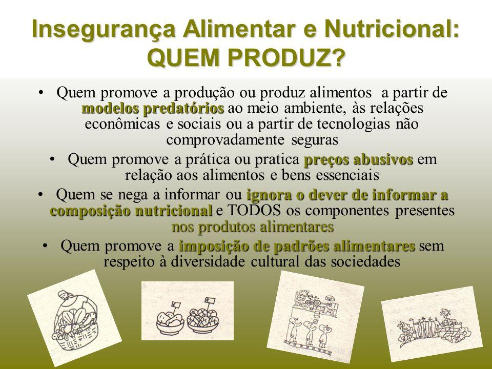 Insegurança Alimentar e Nutricional: QUEM PRODUZ