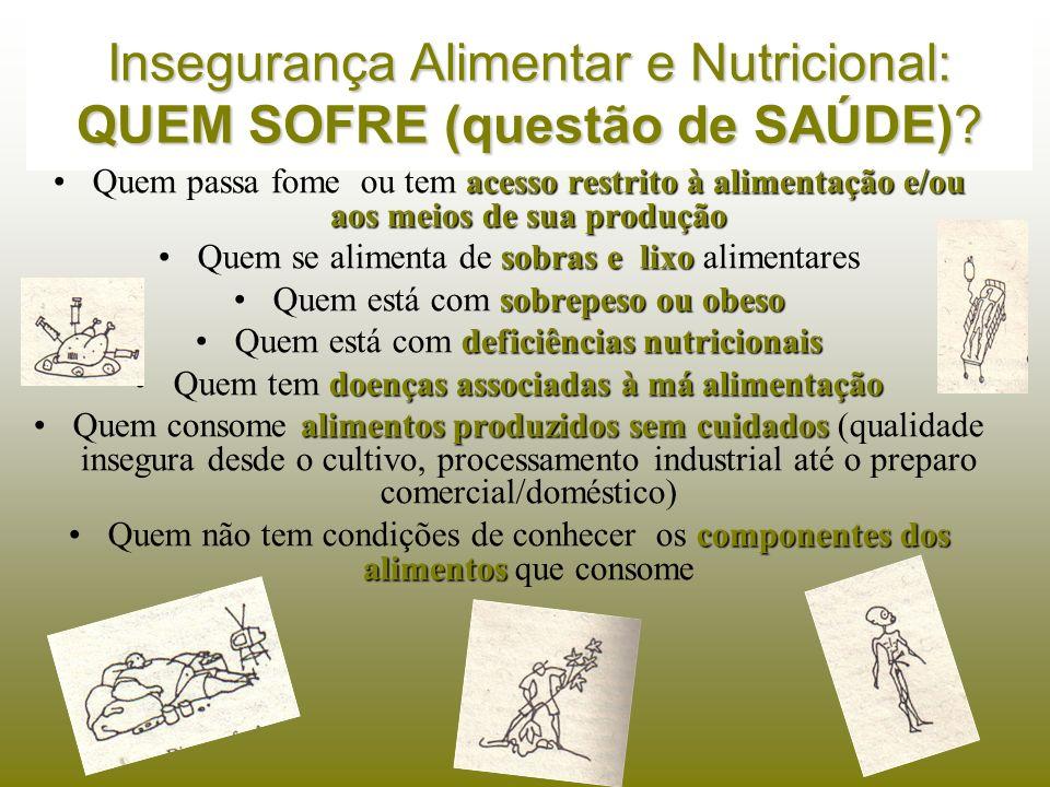 Insegurança Alimentar e Nutricional: QUEM SOFRE (questão de SAÚDE)