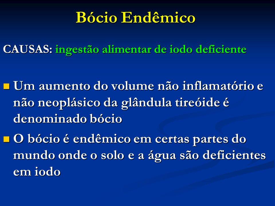 Bócio Endêmico CAUSAS: ingestão alimentar de iodo deficiente.
