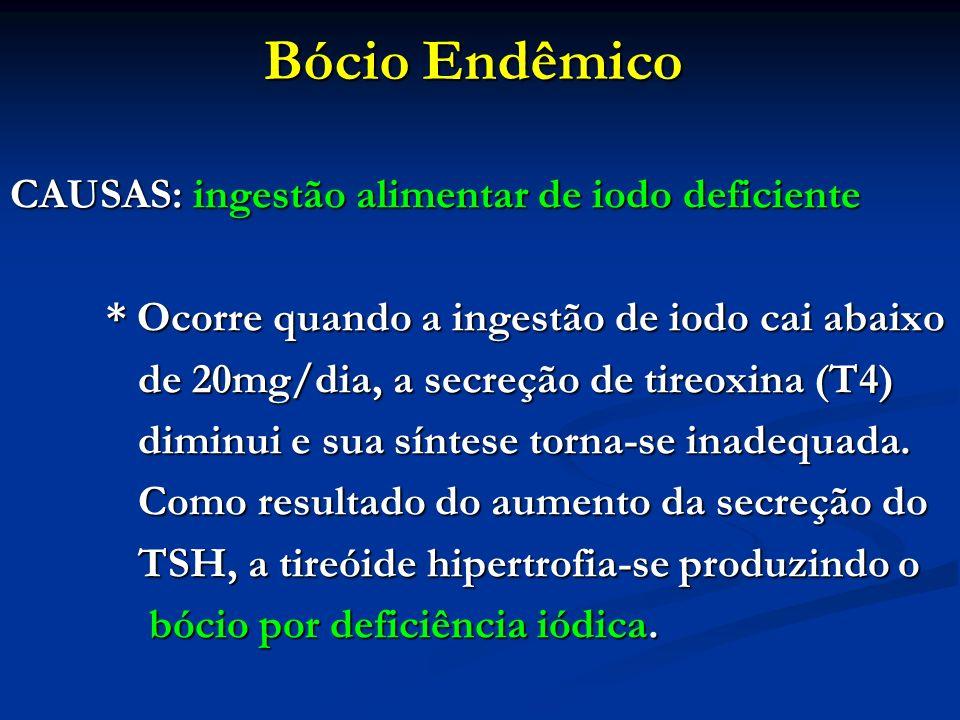 Bócio Endêmico CAUSAS: ingestão alimentar de iodo deficiente