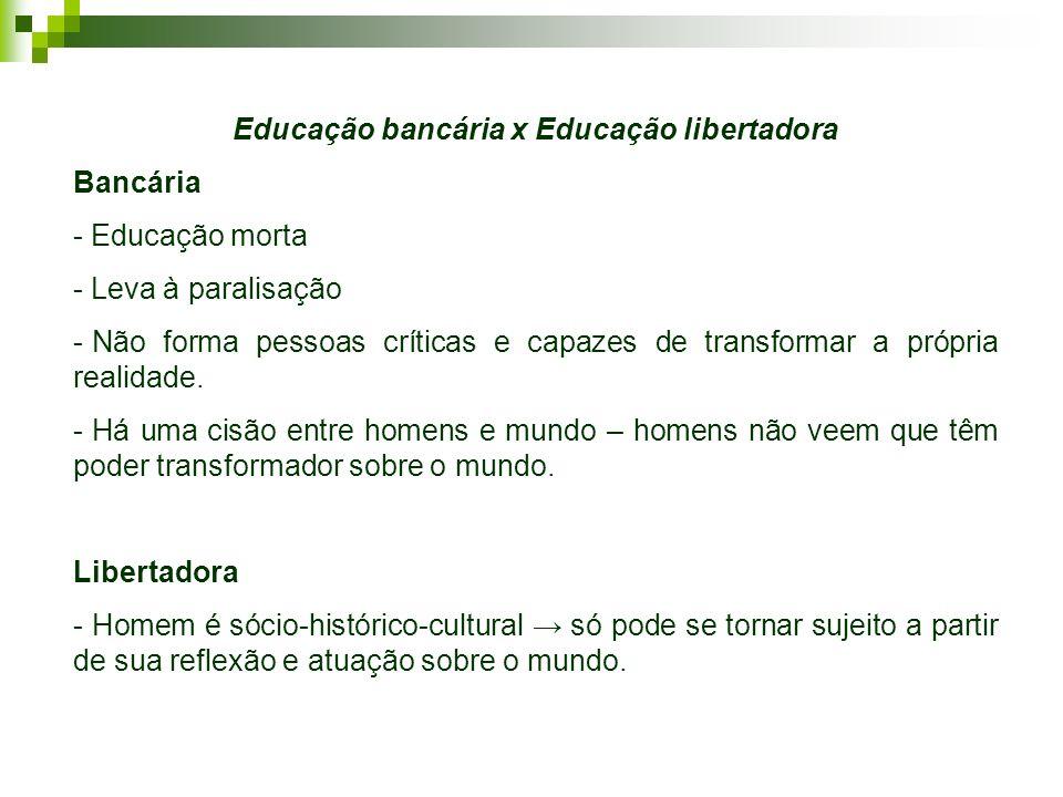 Educação bancária x Educação libertadora