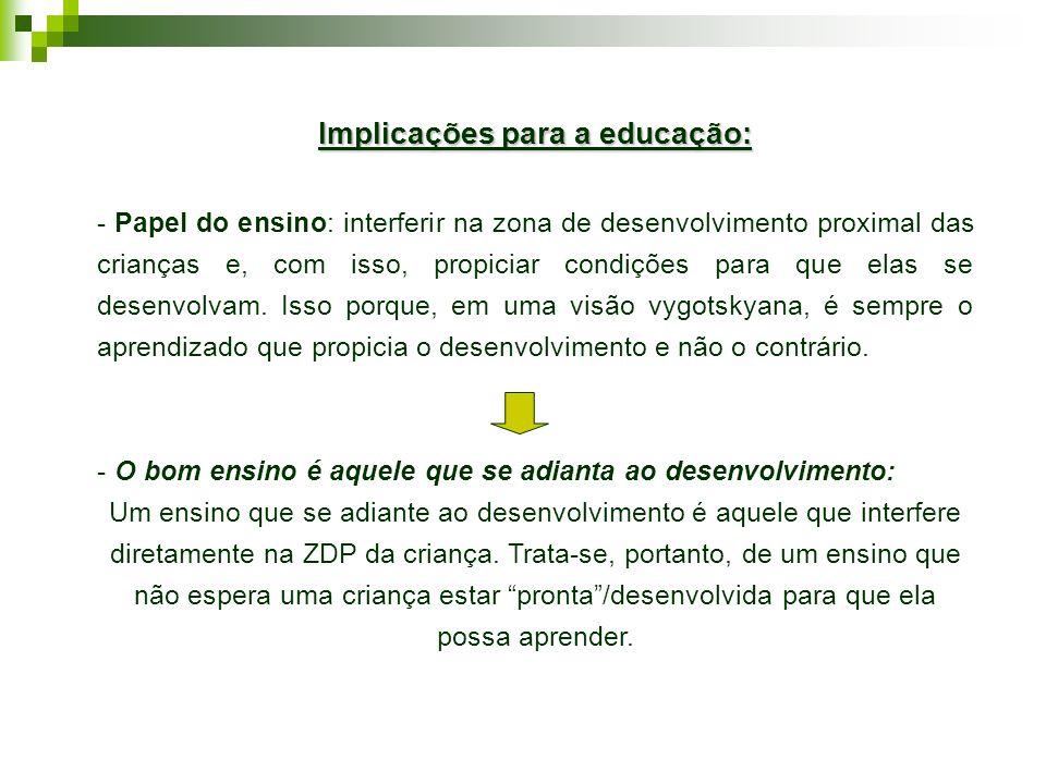 Implicações para a educação:
