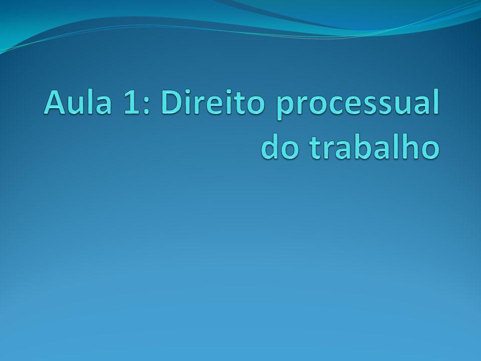 Aula 1: Direito processual do trabalho