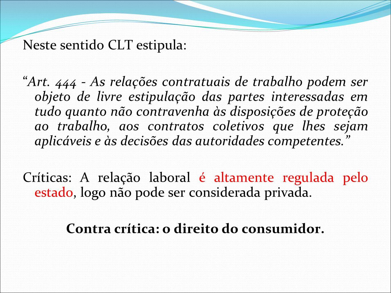 Contra crítica: o direito do consumidor.