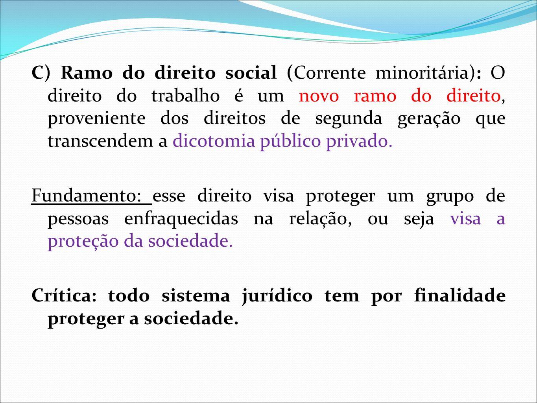 C) Ramo do direito social (Corrente minoritária): O direito do trabalho é um novo ramo do direito, proveniente dos direitos de segunda geração que transcendem a dicotomia público privado.