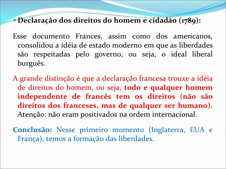 Declaração dos direitos do homem e cidadão (1789):