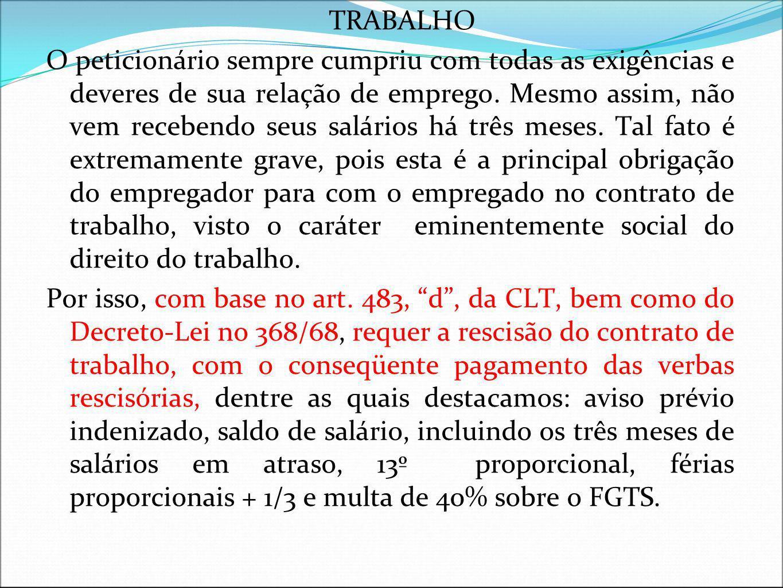 DA RESCISÃO INDIRETA DO CONTRATO DE TRABALHO