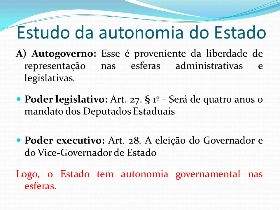 Estudo da autonomia do Estado