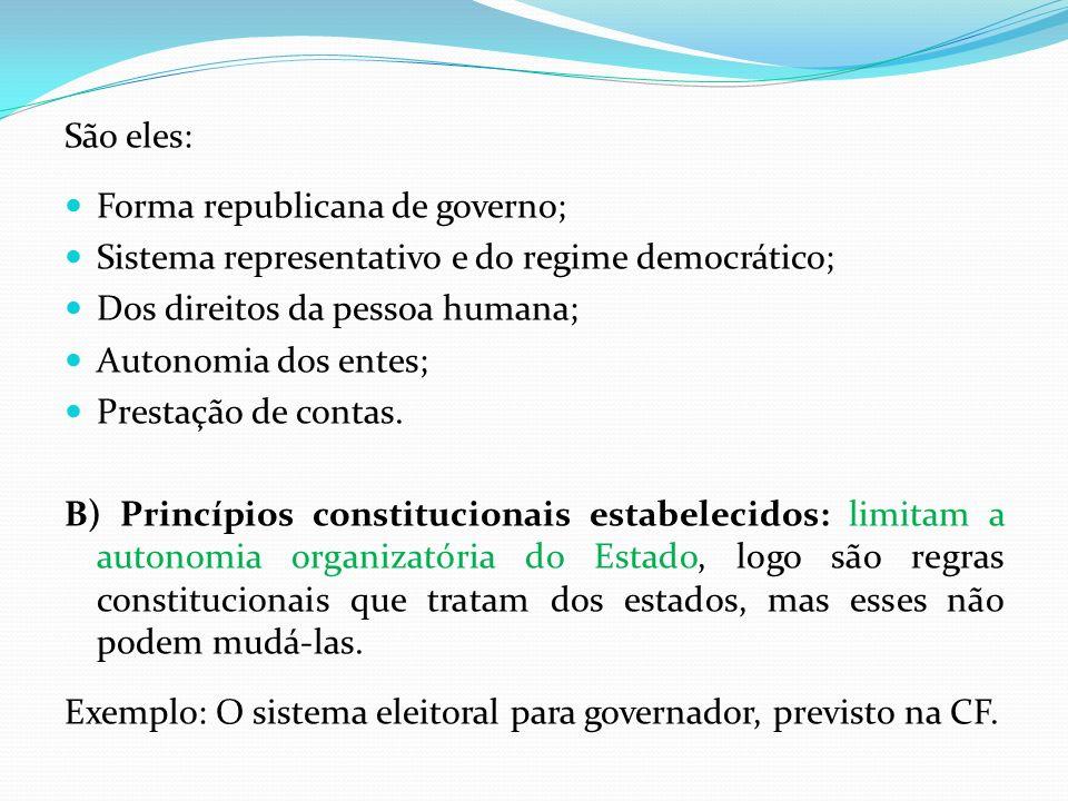 São eles: Forma republicana de governo; Sistema representativo e do regime democrático; Dos direitos da pessoa humana;