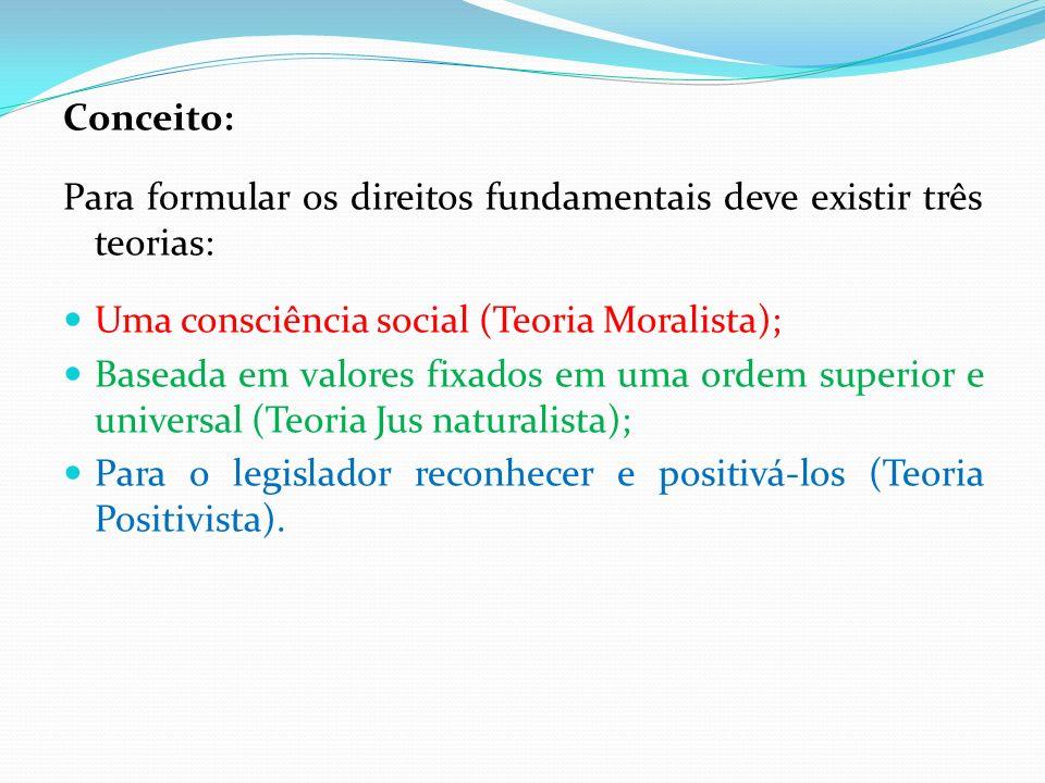 Conceito: Para formular os direitos fundamentais deve existir três teorias: Uma consciência social (Teoria Moralista);