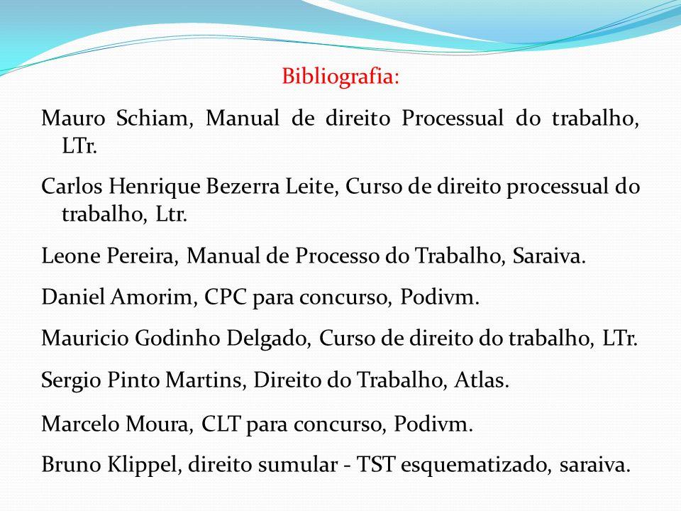 Bibliografia: Mauro Schiam, Manual de direito Processual do trabalho, LTr.