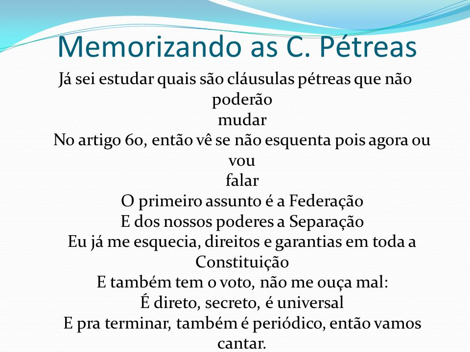 Memorizando as C. Pétreas