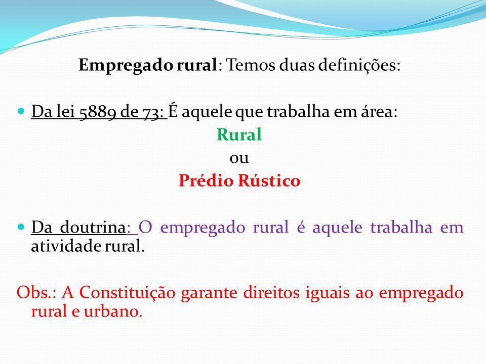Empregado rural: Temos duas definições: