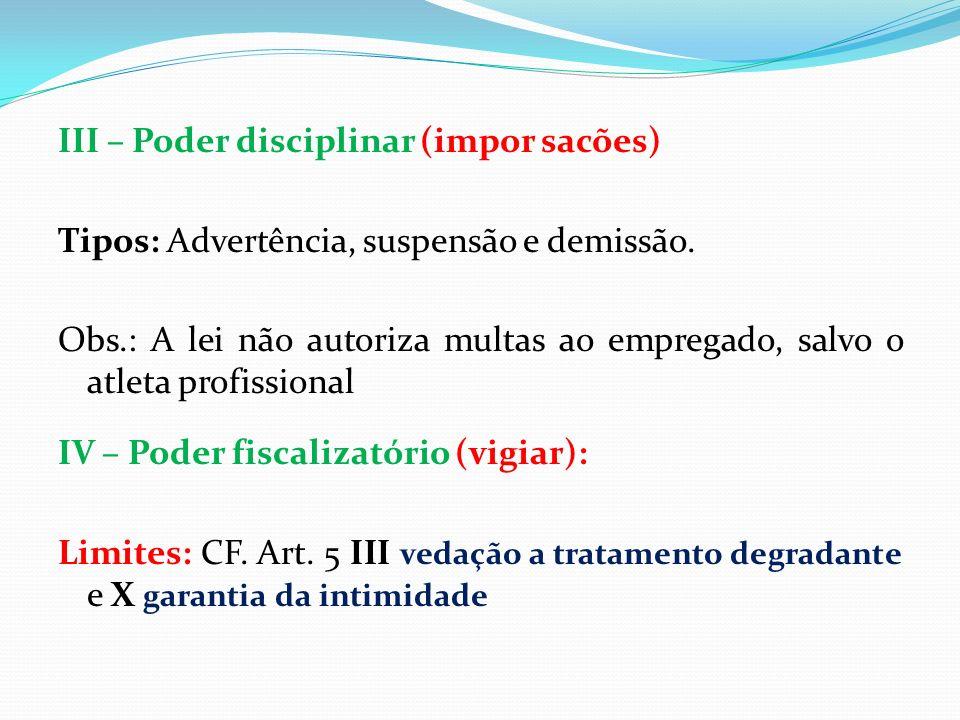 III – Poder disciplinar (impor sacões)