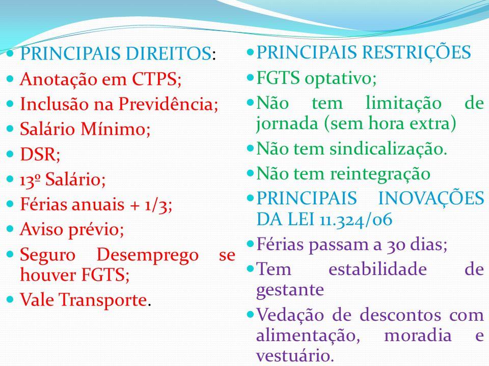 PRINCIPAIS DIREITOS: Anotação em CTPS; Inclusão na Previdência; Salário Mínimo; DSR; 13º Salário;