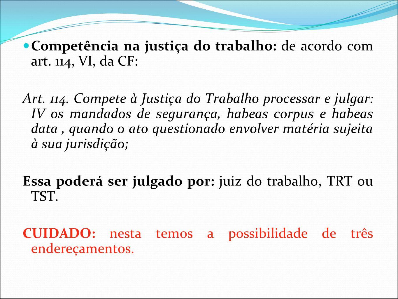 Competência na justiça do trabalho: de acordo com art. 114, VI, da CF: