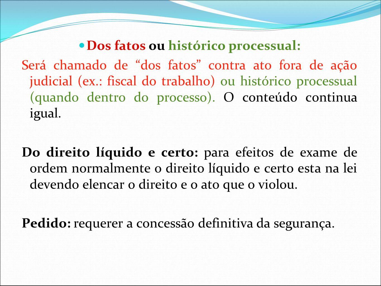 Dos fatos ou histórico processual: