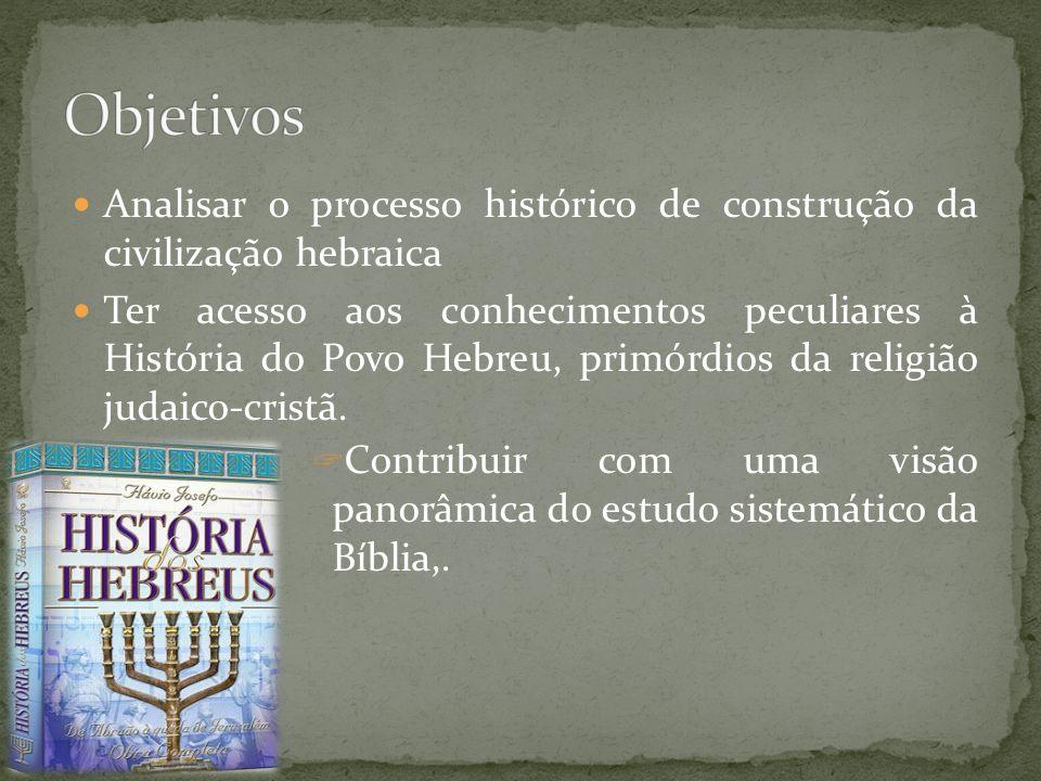 Objetivos Analisar o processo histórico de construção da civilização hebraica.